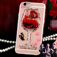 Wholesale Iphone 4s Back Glass Metal - Sexy lips For iPhone 6S Plus 4S 5S SE 7 7 Plus Phone Case Liquid Quicksand Red Wine Glass transparent hard back Cover