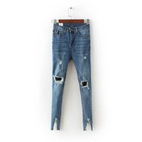 Wholesale Legging Broken - Wholesale- Broken leg opening Skinny denim vintage hole ripped jeans Fashion high waist pencil pants dark blue gray jeans Trousers split
