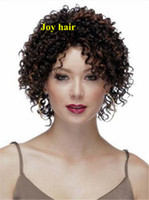 Wholesale Highlight Brown Hair - Free Shipping Cheap Afro Kinky Curly Wig Highlight Brown African American Short Curly Wig For Black Women Cheap Synthetic Natural Hair Wig