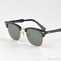 Wholesale Clear Sight Glass - 2017 Hot Retro Club Sunglasses Men Women Best Quality Designer Aluminum frame Glass Lens Master Mirror Sunglasses Lunettes Oculos de 51mm