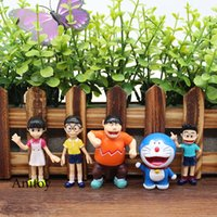 Wholesale Doraemon Figures - 5pcs set Anime Cartoon Cute Doraemon PVC Action Figure Collectible Model Toy Doll Kids Gift 6cm KT1015