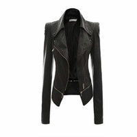 Wholesale Motorcycle Short Sleeve - Wholesale- Women Leather Jacket Rivet Zipper Motorcycle Jacket Turn Down Collar chaquetas mujer Argyle pattern Leather Jacket S-3XL