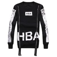 Wholesale Hba Hood Air Women - Fashion HOOD BY AIR HBA Hoodies spring&autumn couples round Neck Circles casual pullover Men women HIP HOP Zipper Sweatshirts sportwear