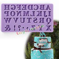 Wholesale Alphabet Silicone Mould - Wholesale- 3D Alphabet Letter Silicone Fondant Mold Cake Chocolate Cutter Mould