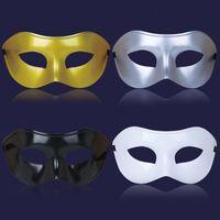 venezianische kostüme für männer großhandel-Silber Gold Weiß Schwarz Mann Halbes Gesicht Archaistic Antique Classic Men Mask Karneval Maskerade Venezianischen Kostüm Party Masken