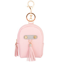 Wholesale Girls Rose Handbags - Lady's PU Leather Coin Purse Tassels Backpack Metal Keychain Keyring Car Keychains Purse Charms Handbag Pendant