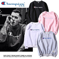 Wholesale Long Sweatshirts For Sale - Japanese Brand Solid Embroidery Hoodies Winter Autumn Cotton Fleece Pullover Sweatshirts Fashion Vintage O-Neck Hoodies For Sale