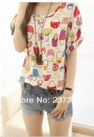 Wholesale Printed T Shirt Bags Wholesale - Wholesale-Free Shipping 2016 New Womens Summer Bird Print Heart bag Design Dot Cute Loose Chiffon Short Sleeve Top Size XXXL T-shirt