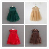 Wholesale Nets Dress New Style - New baby girls Net yarn dress summer Children lace princess dresses Kids Clothing 8 colors B11
