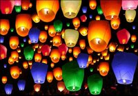 Wholesale Chinese Lamps Fly - 50pcs Mix Color Chinese Paper Lanterns Sky Fire Fly Candle Lamp for Wish Wedding and Party Decoration