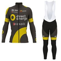 Wholesale cycling jerseys online - DIRECT ENERGIE Winter thermal fleece cycling jersey and thermal long bib pants
