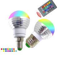 Wholesale Red Light Wireless - LED 3W RGB globe bulb 16 Colors RGB bulb Aluminum 85-265V Wireless Remote Control E27 dimmable RGB Light color change led bulb