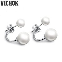 Wholesale Cute Pink Stud Earrings - 925 Sterling Silver Cute Earrings Clip On Ball Pearl Stud Earrings For Women Wedding Fashion Fine Jewelry White Pink Color VICHOK