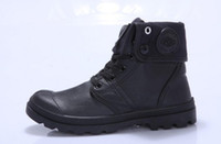 botas estilo cuero para hombres al por mayor-Cómodos zapatos estilo paladio para mujeres, hombres, cuero, PU, cordones, zapatos, talones, negro impermeable, tobillo militar, botas de marca Martin
