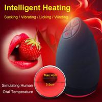 Wholesale Speed Vibrating Vagina - Lick Suck Automatic Sex Machine Oral Male Masturbator Cup 6 Speeds Vibrating Intelligent Heat Realistic Sex Toys For Men 17407