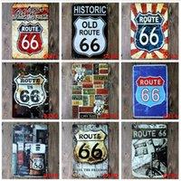 eski moda dekor toptan satış-Moda 20 * 30 cm ABD Rota Eski Tarihi 66 Retro Vintage Klasik Teneke Bar Pub Ev Duvar Dekor Retro Teneke Posteri Bar Metal Resimleri