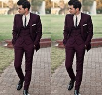 Wholesale Cheap Checked Pants - Burgundy Slim Fit Wedding Tuxedos Suits For Men Cheap Jacket Vest And Pants Groom Suit Three Pieces Prom Suits