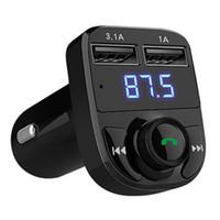cargador inalámbrico led al por mayor-1 UNID Manos Libres Inalámbrico Bluetooth Transmisor FM Radio Car MP4 Modulador Reproductor de Música Cargador USB TF LED Dual USB cargador