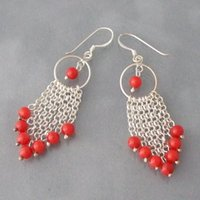 Nouvelle livraison gratuite Multi Strand Chain Red Coral Drop Earrings 925 Sterling Silver Hook 6mm Round Shaper Jewelry Prix de gros