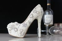 Wholesale Elegant Crystals Bridal Shoes - Elegant High Heeled Shoes for Wedding Bridal Sparkling PU Stock Fast Shipping Cheap Round Toe Platform Pumps Accessories with Pearls Crystal