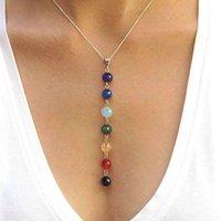 Wholesale Gem Stones Strands - 7 Chakra Gem Stone Beads Pendant Necklace Women Yoga Reiki Healing Balancing Necklaces Charms Jewelry Best Gift