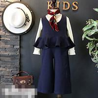 Wholesale Cute Korean Babies - New style Spring Autumn Girls Clothes baby suit Korean Fashion cute short Tops Vest tank Wide leg pants 2pcs set kids Children Outfit A238