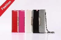bling wallet chain - Diamond Bling Wallet Leather Pouch Case For Iphone I7 Plus S Plus Samsung Galaxy S6 S7 EDGE Chain Strap Purse Fold TPU Card Skin Cover