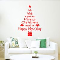 Wholesale Tree Window Art Decals - Word Group Christmas Tree Sticker Pop Funko Merry Christmas Puzzle Wall Art Removable Home Window Wall Stickers Decal Party Decorate Gadgets