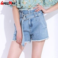 Wholesale High Waist White Denim Shorts - High Waist Denim Shorts For Women Summer White Black Short Jeans Ladies Loose Shorts Pantalones Cortos De Cintura Alta GAREMAY