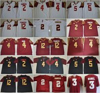 Wholesale Fsu Jersey - FSU College 4 Dalvin Cook 2 Deion Sanders 12 Deondre Francois Jersey Red Black White Florida State Seminoles Football Jerseys All Stitched