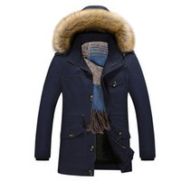 Wholesale Casual Faux Fur Hooded Pad - Wholesale- Thicker Warm Cotton-Padded Jacket Men Jaqueta Masculina Faux Fur Hat New Men Hooded Fashion Jackets and Coats Casual Parka 5XL