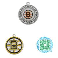 hiboux en laiton vintage achat en gros de-Gros-10pcs Hockey ronde émail cristal Boston Bruins charmes pendentifs