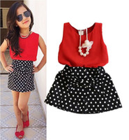 Wholesale Leopard Patches - bright fashion lovely shining red girls dress suits sleeveless tops dot bow patched children sundress hot selling new 2016