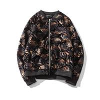 Wholesale Gold Bomber - Wholesale- 2017 Gold Velvet Jacket Men Japan Style Slim Fit Bomber Jacket Fashion Print Stand Collar Pilot Jacket Casual Mens Coats 5XL-M