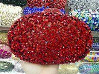 Wholesale Hot Fix Crystal Shapes - Wholesale- 9 Colors High Quality Hot Fixed Golden Crystals Bridal Wedding Clutch Handbags Women Dress Metal Clutches Ladies Evening Purse