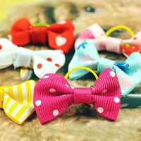 Wholesale Hair Bow Pairs - 1.5Cm*3.5Cm High Quality Dog Hair Bows Hair Band Pet Accessories Bowknot Pets Decoration Multi Colors Available A Pair Wholesale