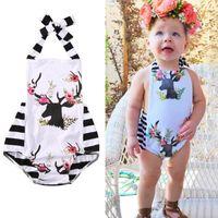Wholesale Girl Porn - Baby Girls Romper Suit Newborn kids boutique clothes Porn Little Girl Suit Floral Deer Onesies Halter Belt Outfits Next Toddlers Bodysuit