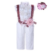 Wholesale G Wholesale Kids Clothing - Pettigirl 2-12Y Girls White Jumpsuit Romper Outfit Summer Kids Flower Lace Costume Children Overalls Clothes with Headwear G-DMRR001-1329