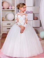 Wholesale Little Girls Beautiful Cheap Dresses - 2017 New Arrival Beautiful Flower Girls Dresses Long Sleeves Handmade Flowers Princess Ball Gown Little Girls Dresses Custom Made Cheap