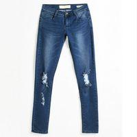 Wholesale Denim Boots Women S - Fashion Ladies Cotton Denim Pants Stretch Womens Bleach Ripped Knee Skinny Jeans Denim Jeans For Female
