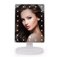 Wholesale 22 LED Touch Screen Makeup Mirror Professional Vanity Mirror Lights Health Beauty Adjustable Countertop Rotating