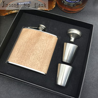 Wholesale stainless steel whisky flask - 6oz wooden hip flask personalized gift your name show on whisky alcohol drinkware flasks logo can be engraved free