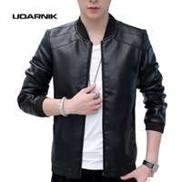 Wholesale Brown Motorcycle Leather Jacket - Wholesale- Men's Retro Vintage Casual Classic PU Faux Leather Slim Thin Jacket Fit Biker Motorcycle Jacket Coat Outwear Black Tops 204-762