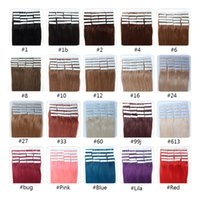 Wholesale Tape Hair Extensions Sets - 2017 Lilibeauty Skin Weft Tape Hair Extension 16 18 20 22 24inch 20pcs set Tape In Human Hair Extension Remy Hair