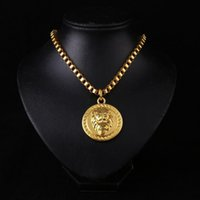 Wholesale Head Necklaces - New Arrivals Hip Hop 18K Gold Plated Lion's Head Pendant Necklace Fashion Jewelry for Men and Women
