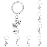Wholesale Happy Birthday Metal - New statement fashion jewelry i love you dad mom grandma son daughter letter family member key rings happy birthday keychains