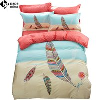 Wholesale Twin Size Colorful Bedding - Wholesale-beautiful colorful feathers pattern beige linens bedding 100% cotton Twin Queen Size duvet cover+bedsheet+pillowcases sheets