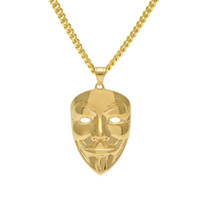 Wholesale Crystal Gold Clowns - Hip-Hop Ornaments Gold-plated Clown Mask JokerFace Stainless Steel Pendant 5mm Cuban Chain Necklace Fashion Punk Jewelry