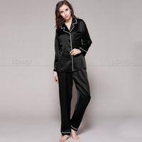Wholesale Womens Pajamas Silk Set - Wholesale- Womens 100% Silk Pajamas Set Pajama Pyjamas Set Sleepwear Loungewear XS S M L XL