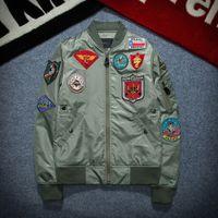 ingrosso bandiere nazionali-New Street fashion Uomo Bomber Giacca MA1 Retro Ricamo Patch Anarchy Badge Bandiera nazionale Black Red Army green